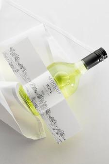Wine bottle label mock up flat lay