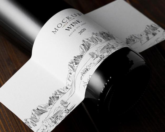 Etichetta della bottiglia di vino mock up vista dall'alto da vicino