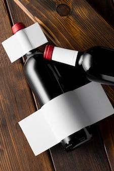 Wine bottle label mock up top view