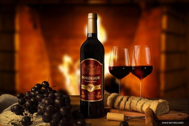 와인 병 라벨 목업