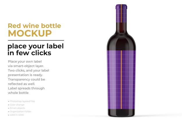 Wine bottle mockup in 3d rendering