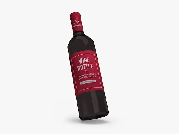 Wine bottle mockup design isolated