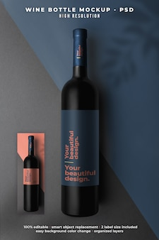 Вид сверху макет бутылки вина