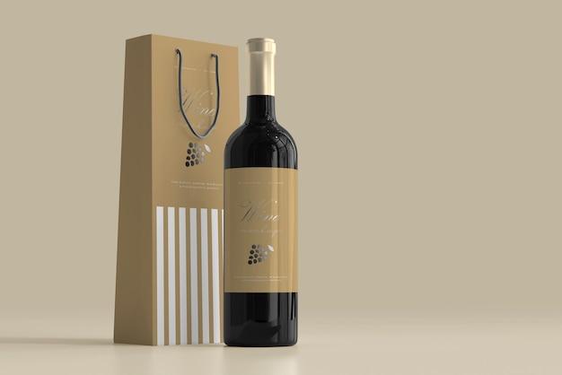 Мокап бутылки вина с сумкой