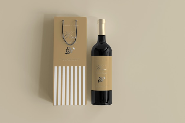 Wine bottle mockup with bag