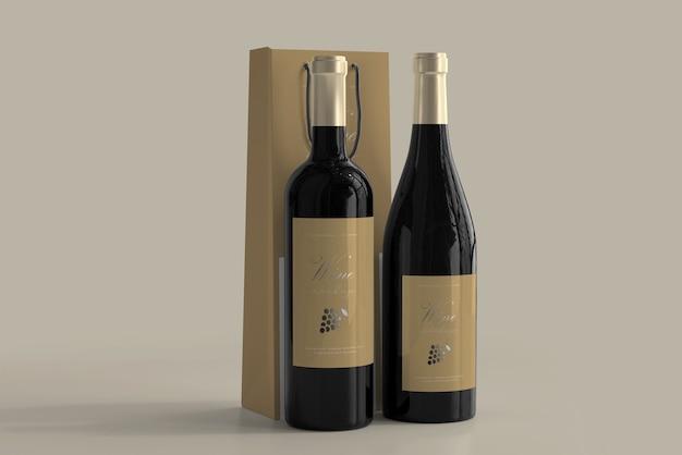 Wine bottle mockup with bag