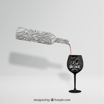 Wine bottle mockup with glass