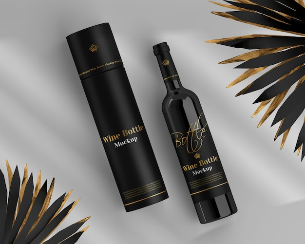 Wine bottle mockup with round box and palm