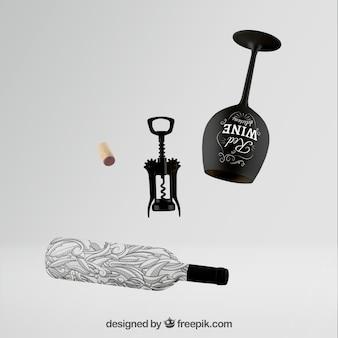Wine bottle mockup with set