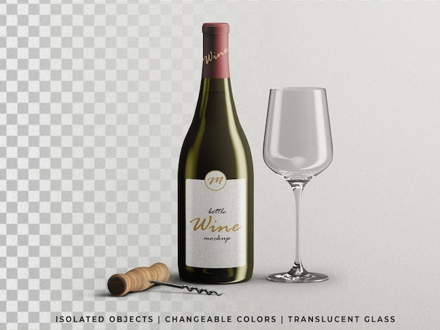 Wine bottle packaging mockup with empty glass and corkscrew front view isolated