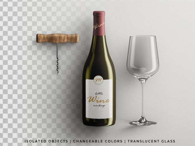 Wine bottle packaging mockup with glass and corkscrew top view isolated