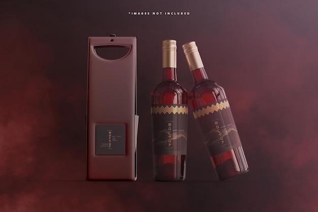 Bottiglia di vino con borsa o custodia mockup