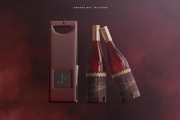 バッグまたはケースのモックアップ付きワインボトル