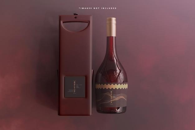 バッグまたはケースのモックアップ付きワインボトル 無料 Psd