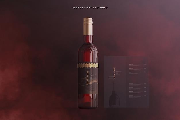 パンフレットまたはメニューのモックアップ付きワインボトル