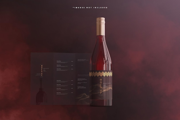 브로셔 또는 메뉴 모형이 있는 와인 병