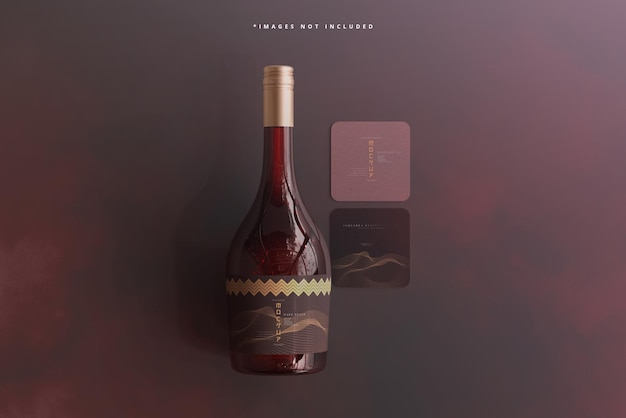 名刺のモックアップとワインボトル