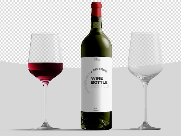 Wine bottle with glasses mockup template