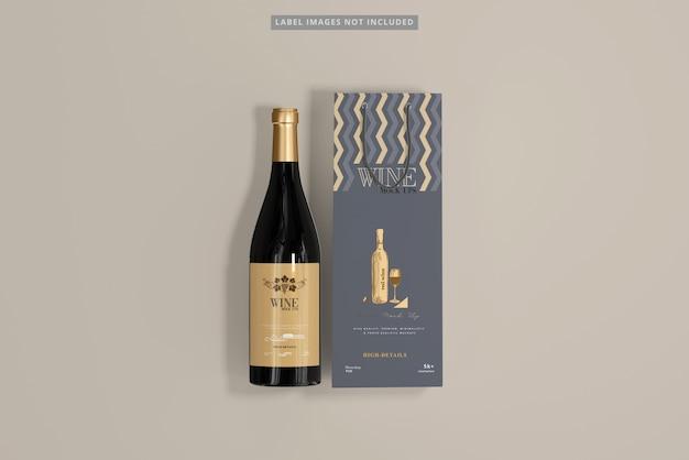 Wine bottle with shopping bag mockup