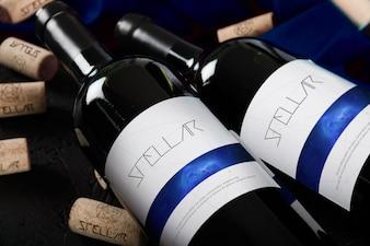 Wine bottles mock up design