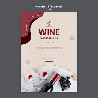 Wine concept flyer template
