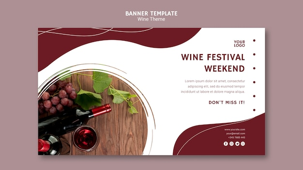 Wine festival weekend banner template