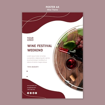 Wine festival weekend poster template
