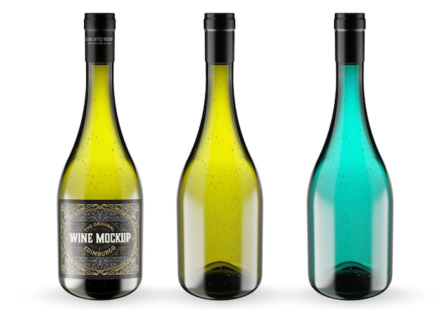 Wine and glass bottle mockup isolated