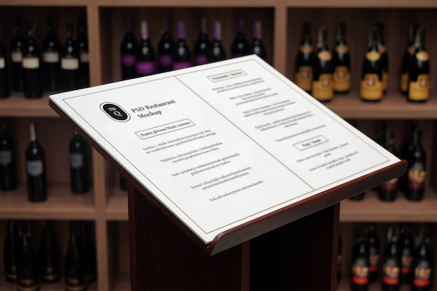 Wine menu psd mockup