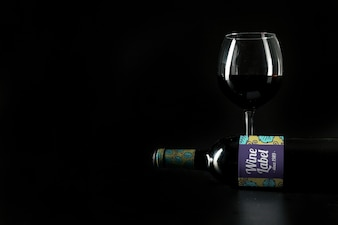 Wine mockup with copyspace on left side