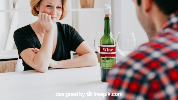 Wine mockup with couple at table