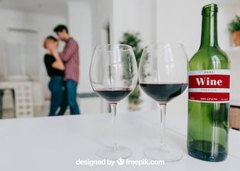Wine mockup with seductive couple