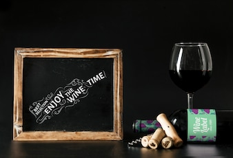 Wine mockup with slate and glass