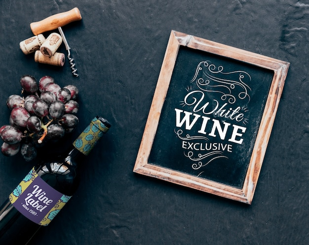 Wine mockup with slate from above
