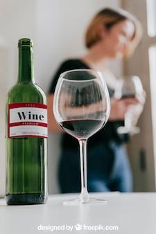 Wine mockup with woman