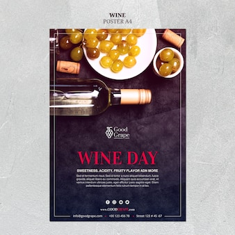 Wine poster template concept