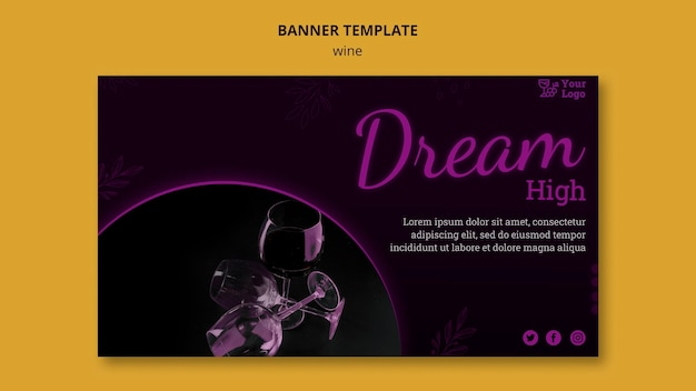 Wine promotional horizontal banner template with photo