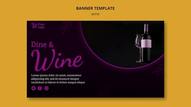 Wine promotional horizontal banner template