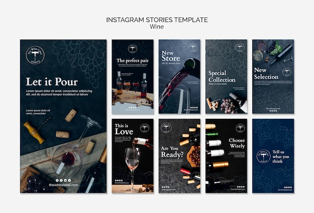 Wine shop instagram stories template