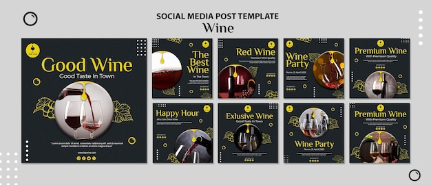 Modello di post di social media vino