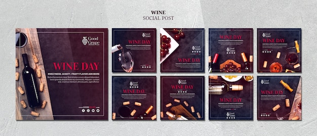 Wine social media post template