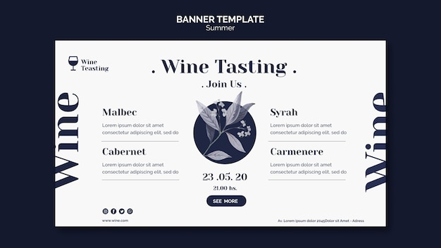 Wine tasting event banner template