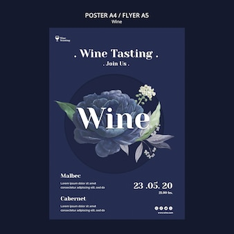 Stile di poster dell'evento di degustazione di vini