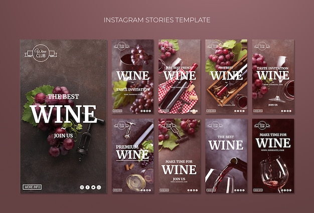 Wine tasting instagram stories template