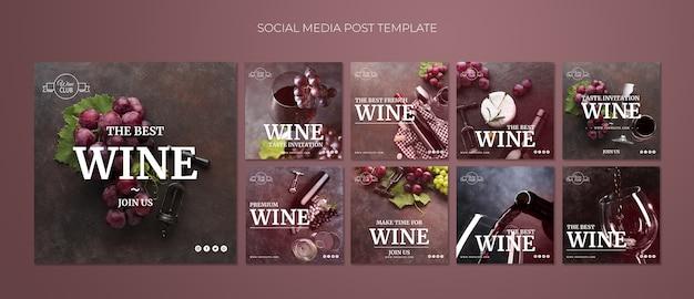 Modello di post social media degustazione di vini