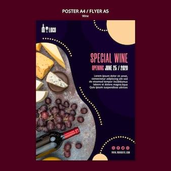 Modello di vino per lo stile del poster