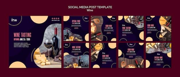 Modello di vino per post sui social media