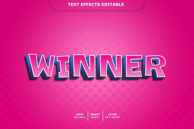 Победитель 3d текстовый эффект стиля Premium Psd
