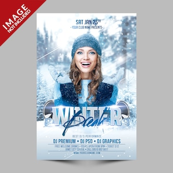 Winter break party flyer template