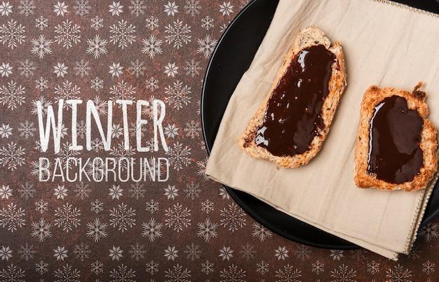Winter breakground with breakfast